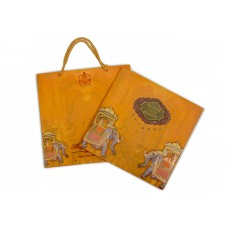 Orange shading with elephants design card