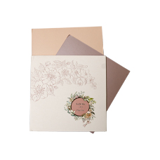 Pink  Floral  Theme Wedding Card