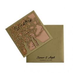 Tree   Design Theme Wedding Card
