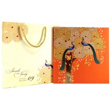 Graceful Orange Color With Peacock Designer Theme Card